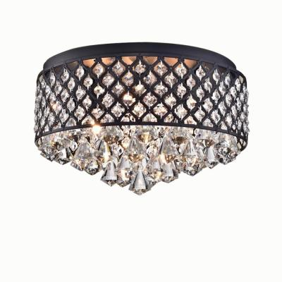Jepsen 15 in. 4-Light Indoor Black Finish Flush Mount Chandelier with Light Kit