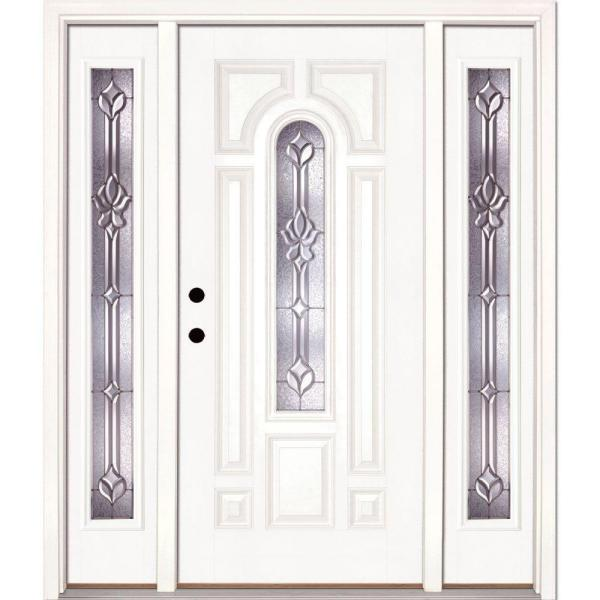 59.5 in.x81.625 in. Medina Zinc Center Arch Lite Unfinished Smooth Right-Hand Fiberglass Prehung Front Door w/ Sidelites