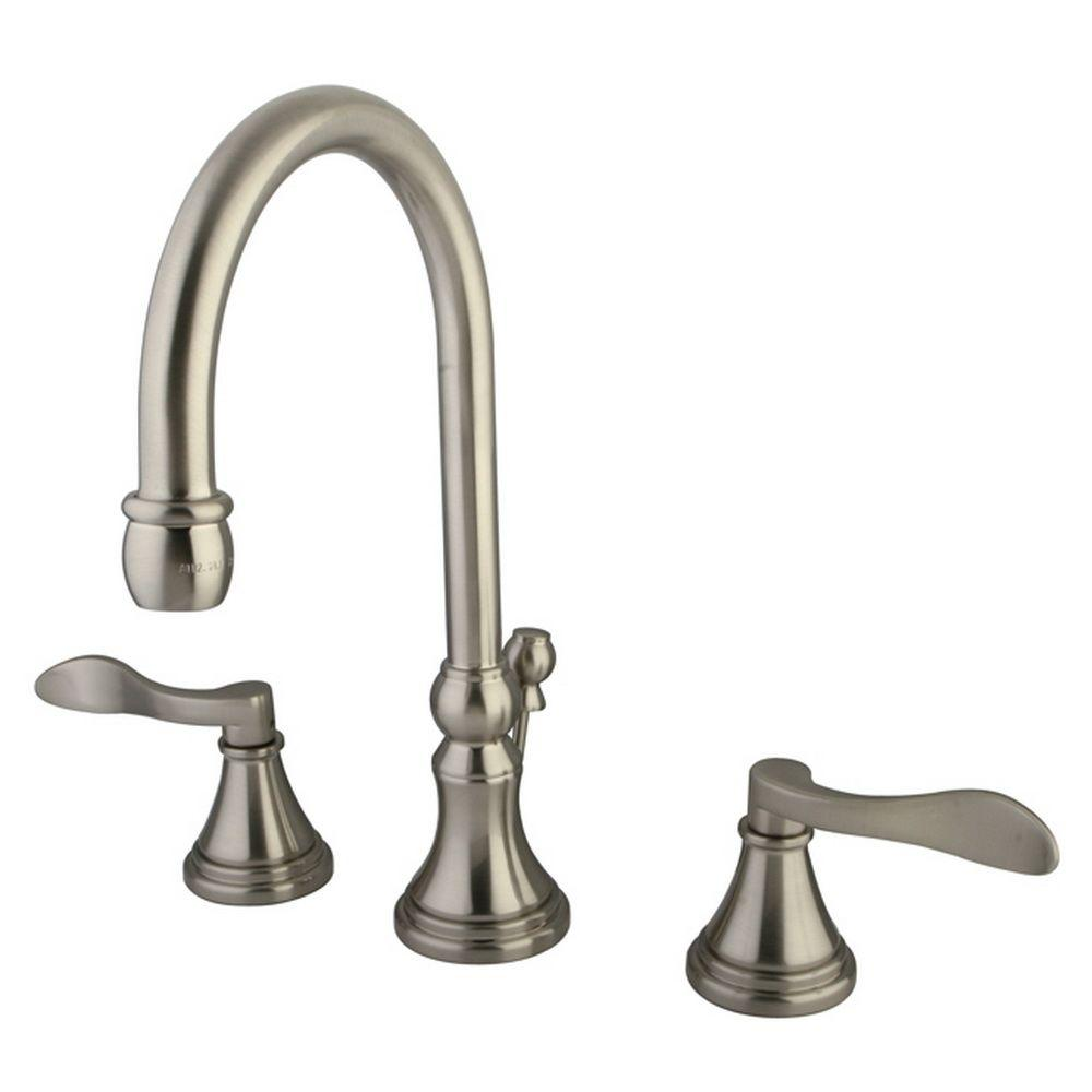 French 8 in. Widespread 2-Handle High-Arc Bathroom Faucet in Satin Nickel