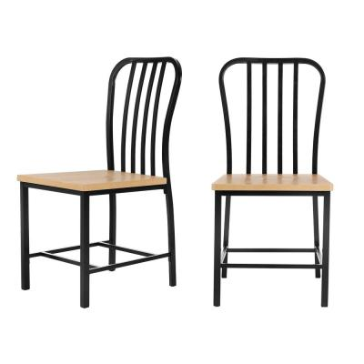 Donnelly Black Metal Dining Chair with Natural Finish Wooden Seat (Set of 2) (17.72 in. W x 37.40 in. H)