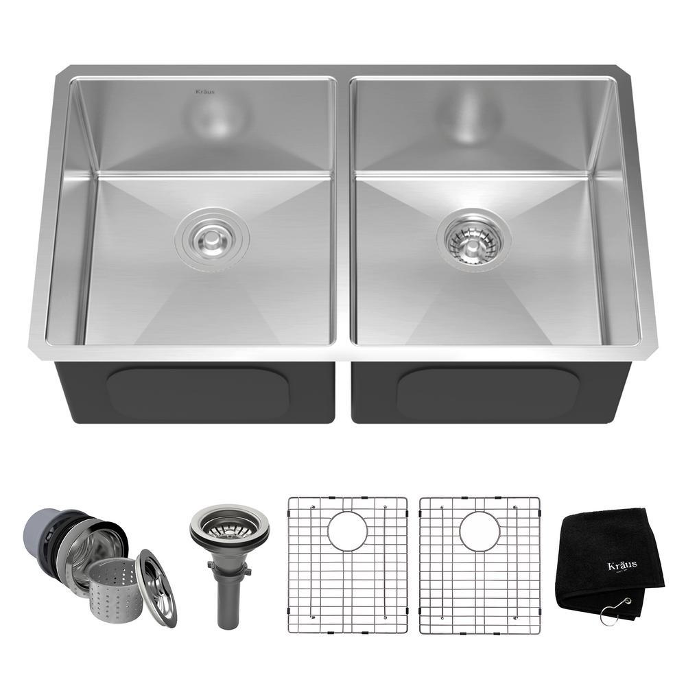 Kraus Undermount Stainless Steel 33 inch 50/50 Double Bowl Kitchen Sink Kit by KRAUS