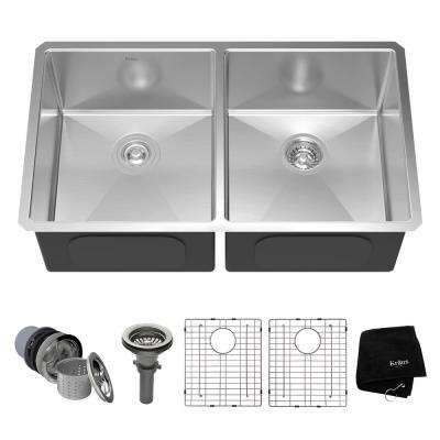 Undermount Stainless Steel 33 in. 50/50 Double Bowl Kitchen Sink Kit
