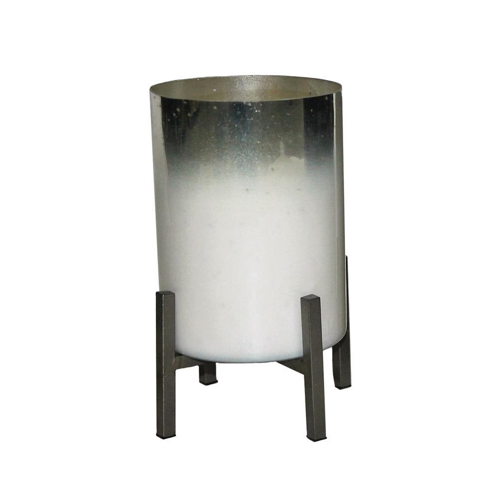 9 in. White/Silver Glass Planter