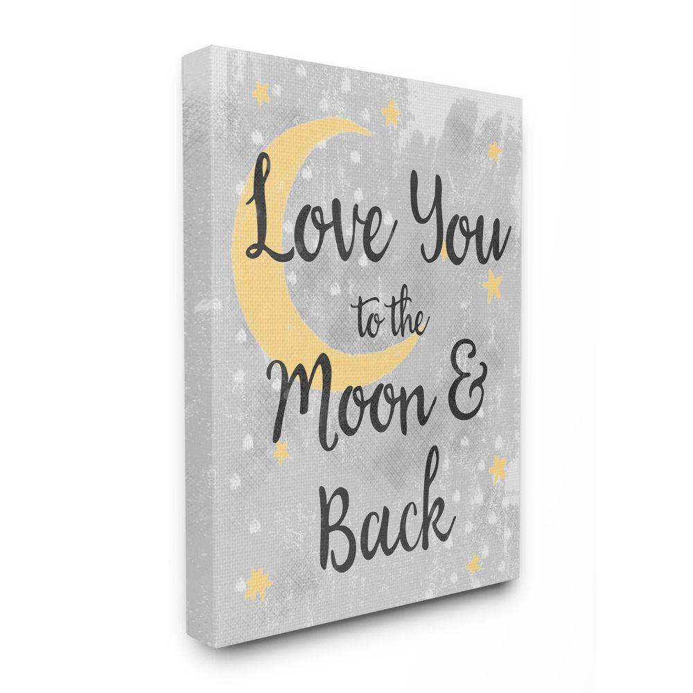 Stupell Industries Love You Moon Kids Nursery Neutral Grey Textured Word Design By Daphne Polselli Canvas Wall Art 24 In X 30 In Brp 2528 Cn 24x30 The Home Depot