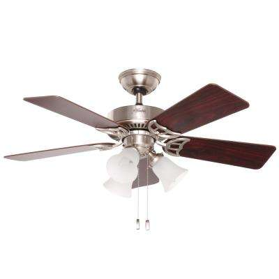 Southern Breeze 42 in. Indoor Brushed Nickel Ceiling Fan Bundled with Light and Handheld Remote Control