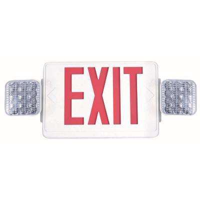 Combo 14-Watt with NICAD 9.6-Volt Battery White Integrated LED Exit Sign and Emergency Light