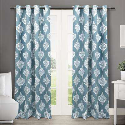 Medallion 52 in. W x 108 in. L Woven Blackout Grommet Top Curtain Panel in Teal (2 Panels)