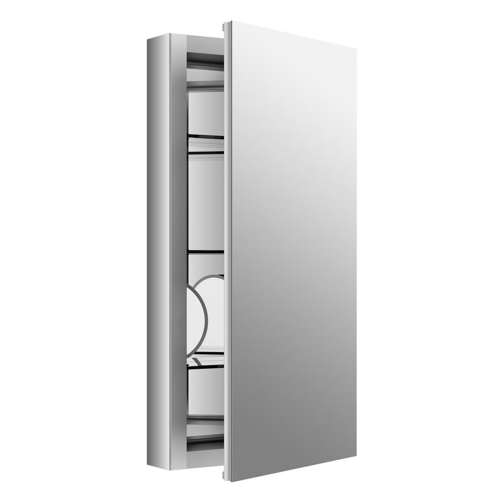 Verdera 15 in. W x 30 in. H Recessed or Surface Mount Aluminum Medicine Cabinet with Adjustable Flip-Out Flat Mirror