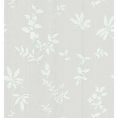 Simple Space Gray Silhouette Leaves and Flowers Wallpaper Sample