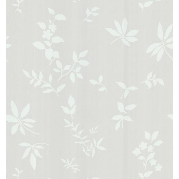 Brewster Simple Space Gray Silhouette Leaves and Flowers Wallpaper Sample