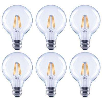 60-Watt Equivalent G25 Globe Dimmable Clear Glass Filament Vintage LED Light Bulb in Cool White (6-Pack)