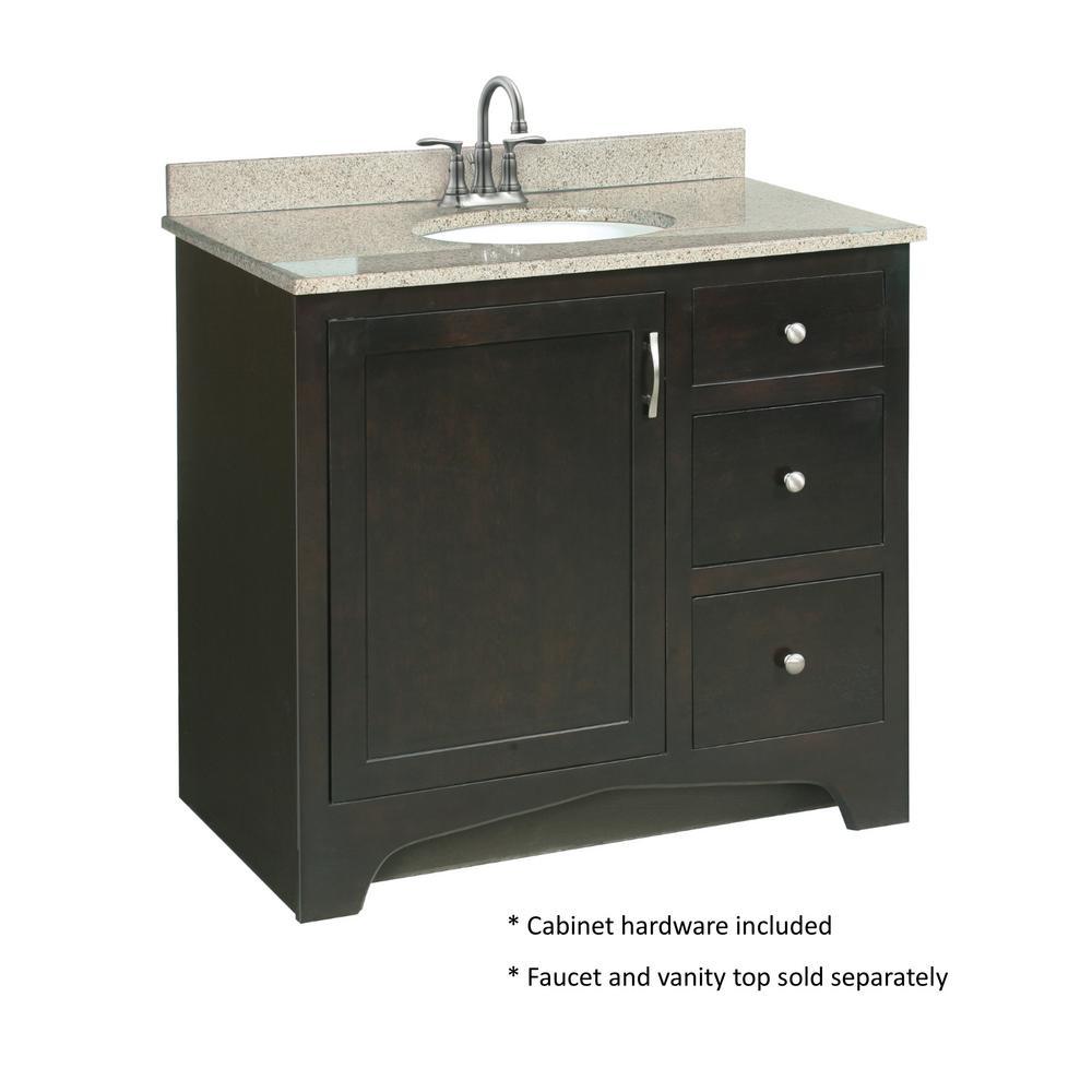 "Cabinet Bathroom Vanity Espresso Shaker Drawer 36/"" W x 21/"" D Single Sink"