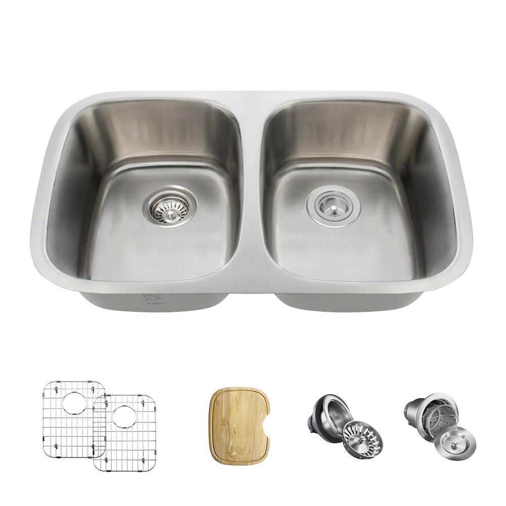 MR Direct All-in-One Undermount Stainless Steel 29 in. Double Bowl Kitchen Sink