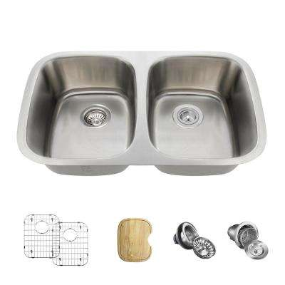All-in-One Undermount Stainless Steel 29 in. Double Bowl Kitchen Sink