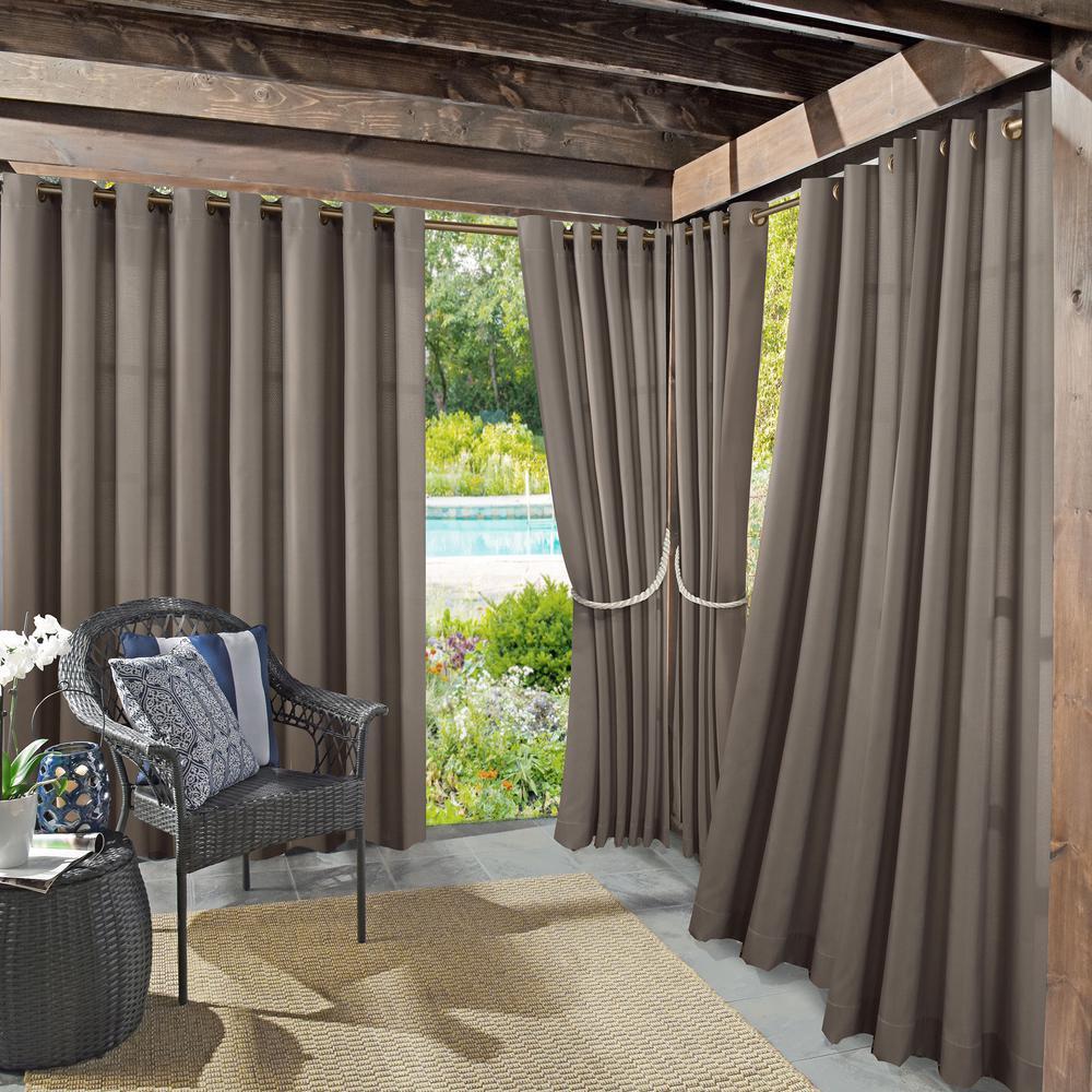 Sun Zero Outdoors Semi-Opaque Birmingham 52 in. by 95 in. Grey Indoor/Outdoor Woven Solid Window Curtain (Price Varies by Size)