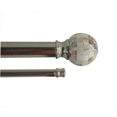 72 in. - 144 in. Adjustable Length 1 in. Dia Double Rod Set in Brushed Nickel with Decorative Finials