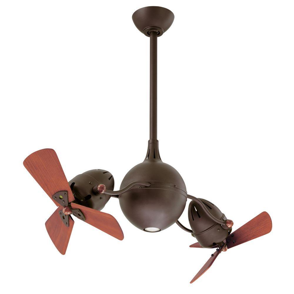 Gale Series 14 in. Textured Bronze Indoor Halogen Double Headed Ceiling Fan