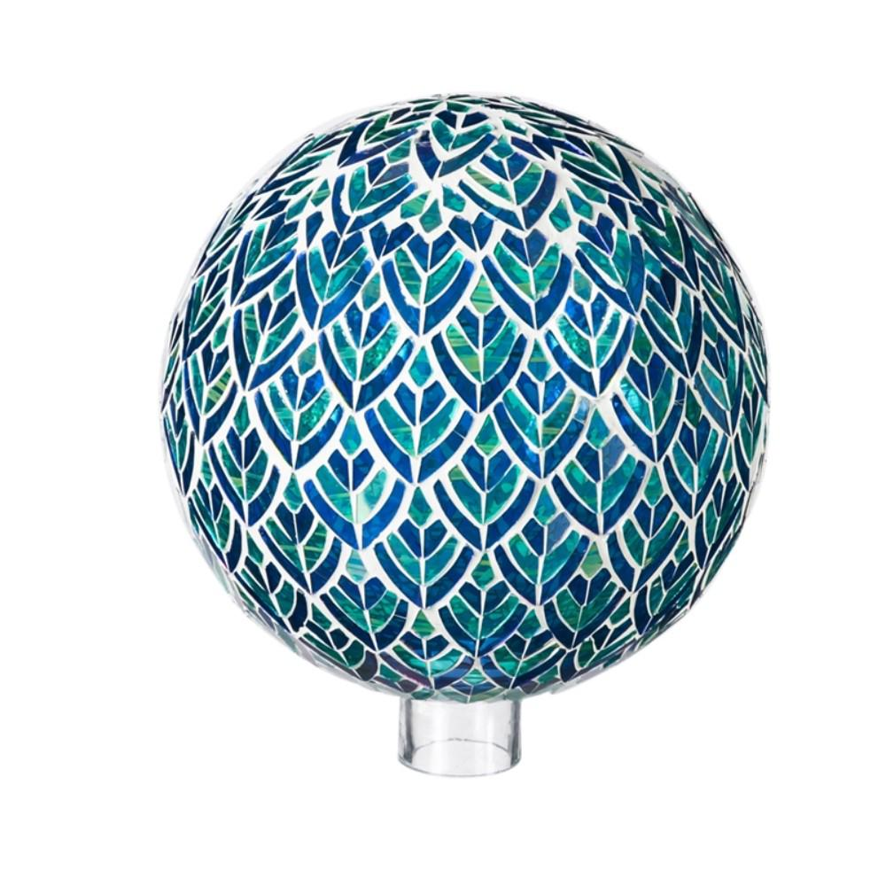 Evergreen Garden 10 in. Blue and Green Mosaic Peacock Gazing Ball This gazing ball will look great in your home or garden. Made of glass, it is safe for indoor or outdoor use. Approximately 10 in. Dia.