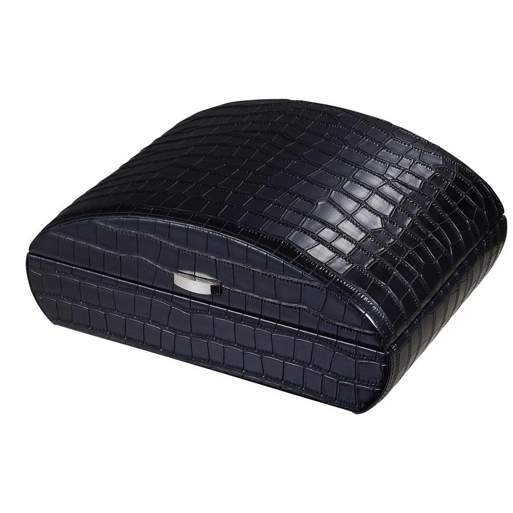 Blake Crocodile Pattern Black Leather Humidor