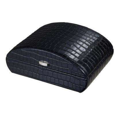 Blake Crocodile Pattern Black Leather Humidor