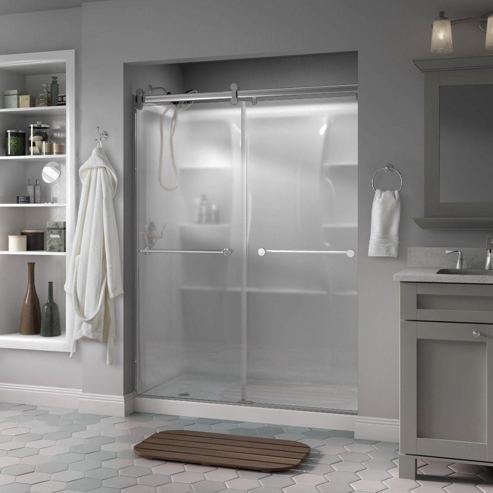 Crestfield 60 in. x 71 in. Semi-Frameless Contemporary Sliding Shower Door in Chrome with Niebla Glass
