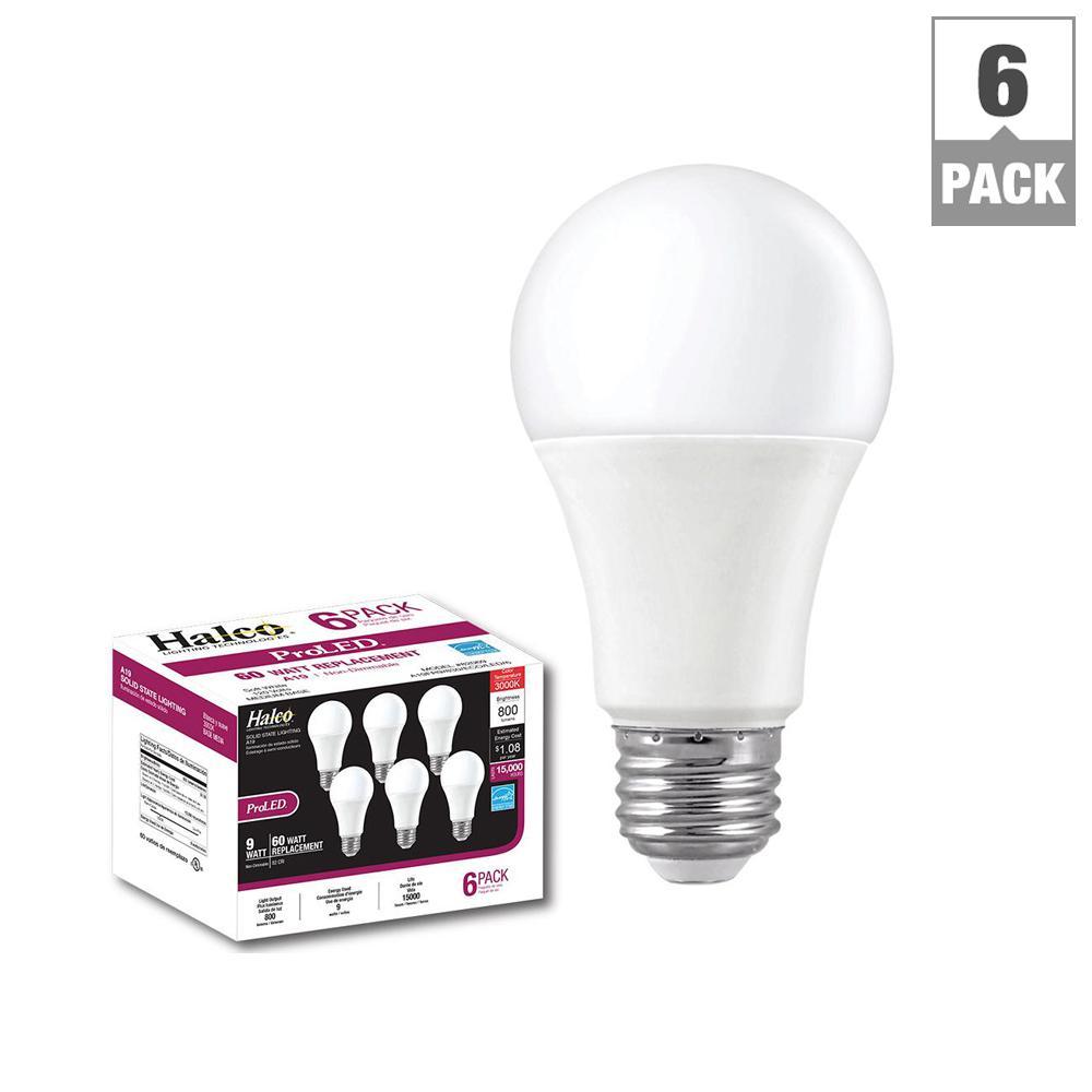 60W Equivalent Warm White A19 LED Light Bulb (6-Pack)