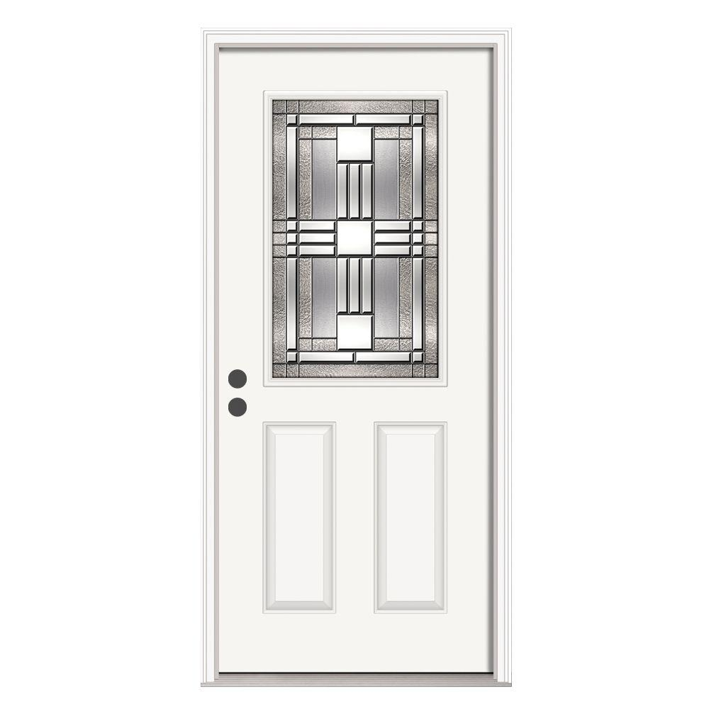 JELD-WEN 36 in. x 80 in. Cordova Primed Steel Prehung Right-Hand Inswing Front Door w/ Brickmould