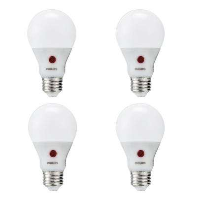 60-Watt Equivalent A19 Dusk To Dawn Automatic On/Off Energy Saving LED Light Bulb Soft White (2700K) (4-Pack)