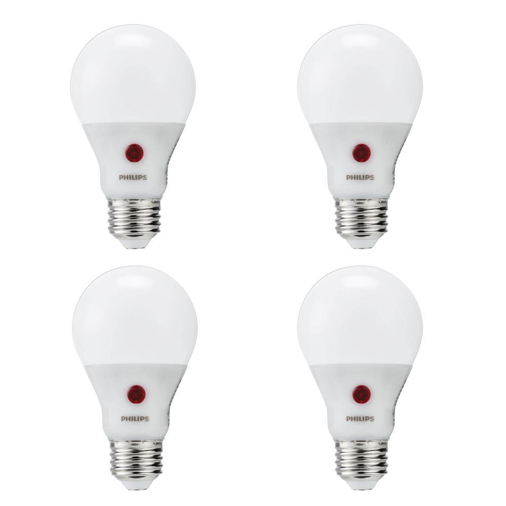 60-Watt Equivalent A19 Dusk To Dawn Automatic On/Off Energy Saving LED Light Bulb Soft White (2700K) (4-Pack)