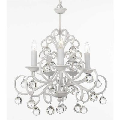 Versailles Bellora Iron and Crystal 5-Light White Chandelier