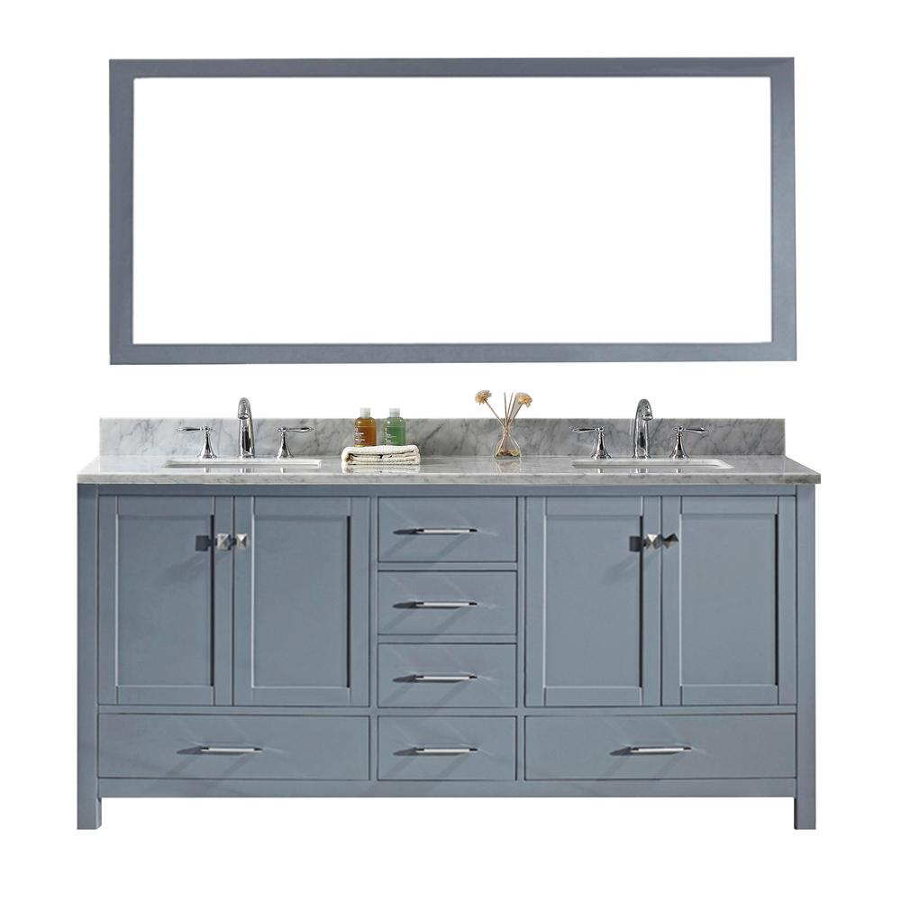 Virtu USA Caroline Avenue 60 in. W Bath Vanity in Gray with Marble