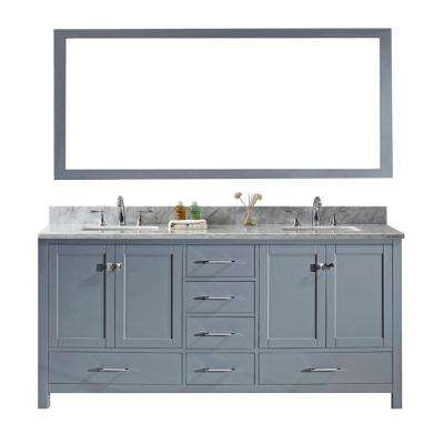 Caroline Avenue 72 in. W Bath Vanity in Gray with Marble Vanity Top in White with Square Basin and Mirror