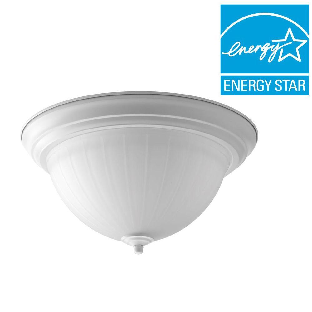 13.25 in. 1-Light White Integrated LED Flushmount
