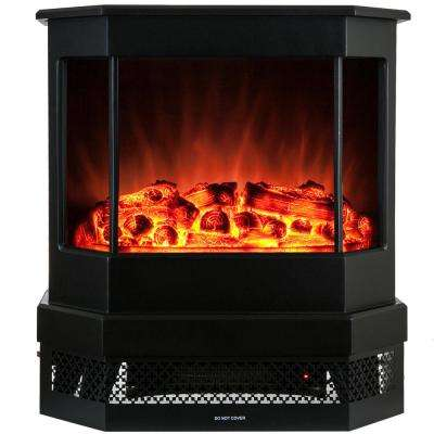 23 in. Freestanding Electric Fireplace Stove Heater in Black with Tempered Glass, Realistic Flame and Logs