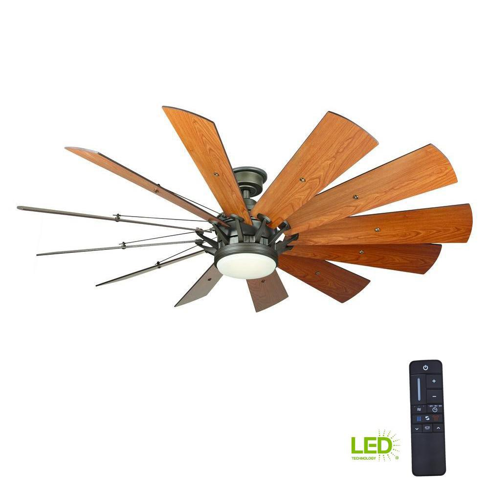 Home Decorators Collection Trudeau 60 In Led Indoor Espresso Bronze Ceiling Fan With Light Kit