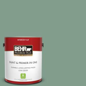 Behr Premium Plus 1 Gal S410 5 Track Green Flat Low Odor Interior Paint And Primer In One 140001 The Home Depot