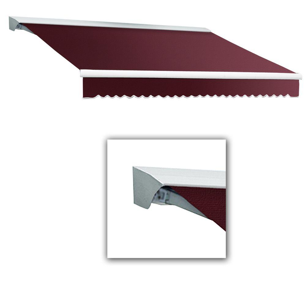 AWNTECH 10 ft. LX-Destin with Hood Left Motor with Remote Retractable Acrylic Awning (96 in. Projection) in Burgundy
