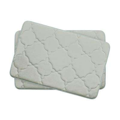 Dorothy Light Gray 17 in. x 24 in. Memory Foam 2-Piece Bath Mat Set