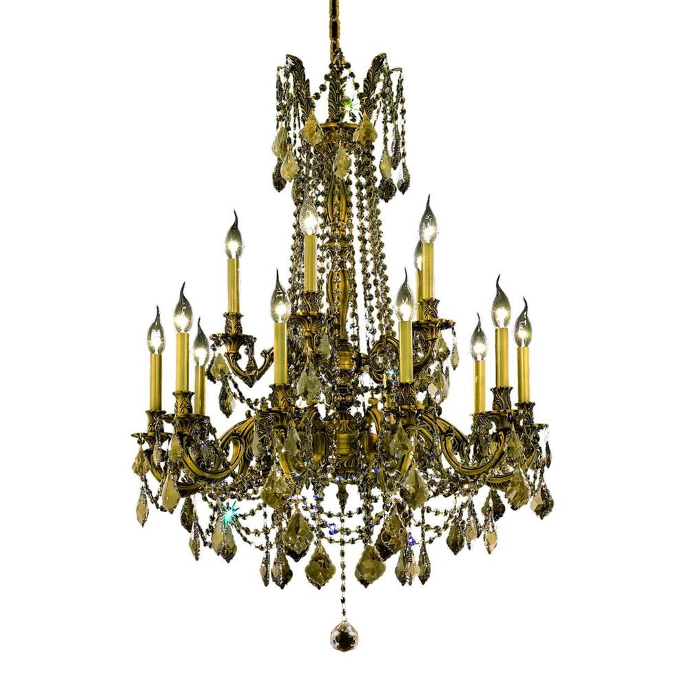 15-Light French Gold Chandelier with Golden Teak Smoky Crystal
