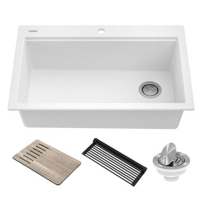 Bellucci Workstation 33 in. Granite Composite Single Bowl Drop-In Kitchen Sink in White with Accessories