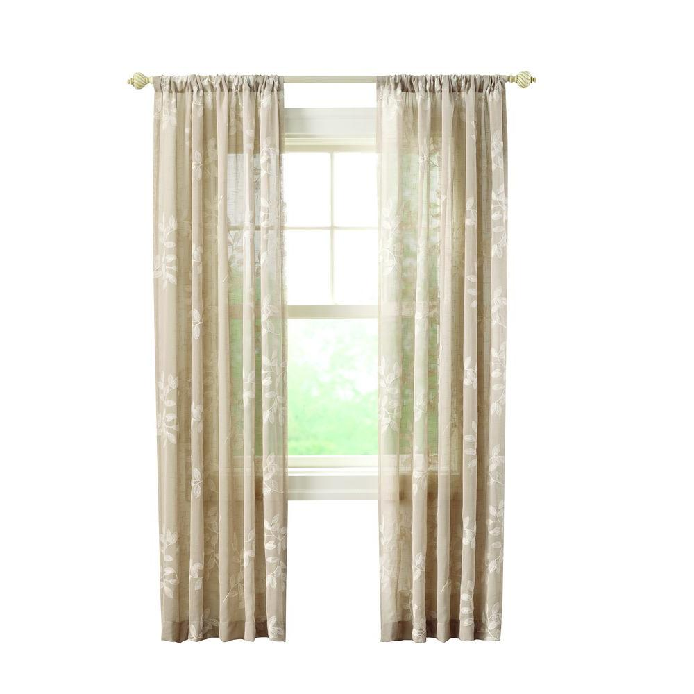 Home Decorators Collection Sheer Linen Leaf Embroidery Rod Pocket Curtain - 50 in. W x 63 in. L