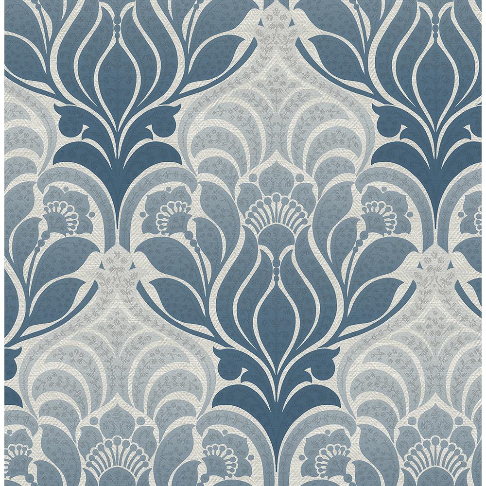 Kenneth James Twill Blue Damask Wallpaper Sample 2671-22425SAM