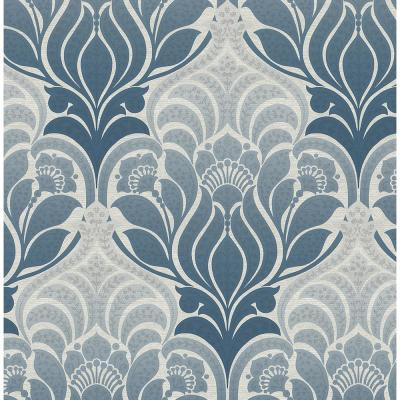 Twill Blue Damask Paper Strippable Roll (Covers 56.4 sq. ft.)