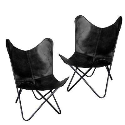 Black Natural Leather Butterfly Chair (2-Piece Set)