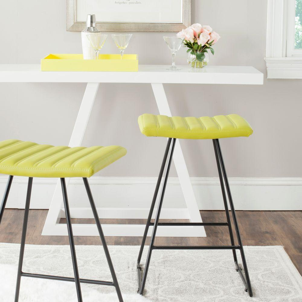 Safavieh Akito 26 in. Green Cushioned Bar Stool (Set of 2)