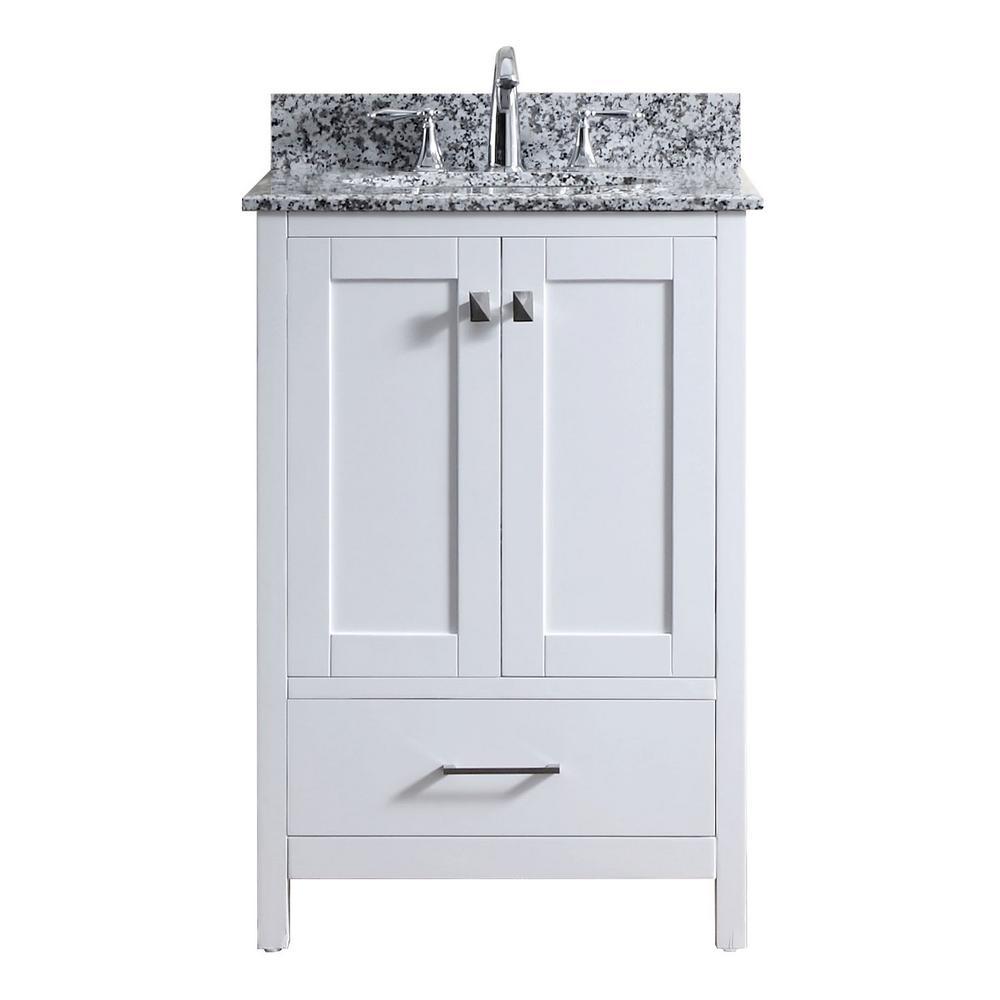 Virtu USA Caroline Madison 25 in. W Bath Vanity in White with Granite Vanity Top in Arctic White Granite with Round Basin