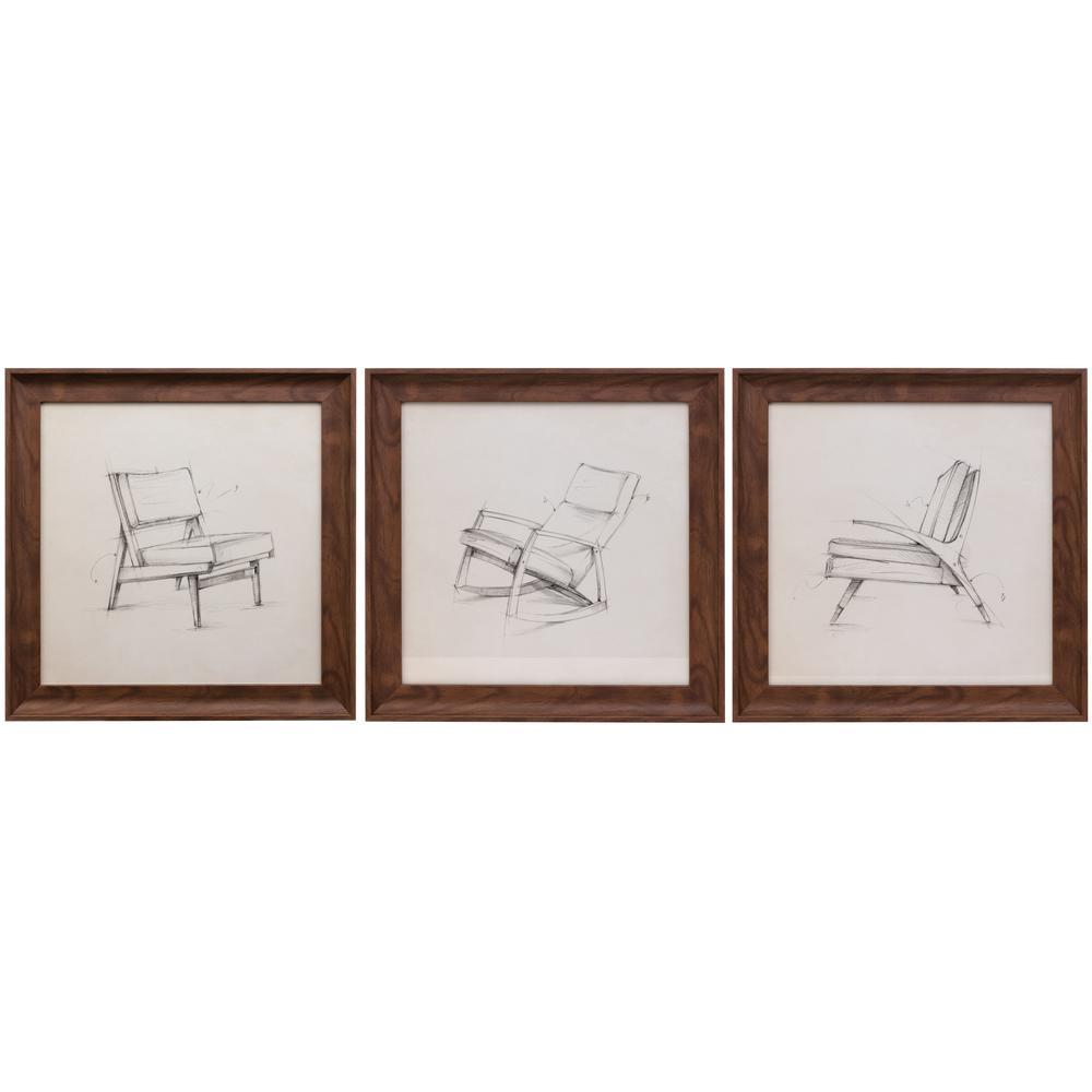 kieragrace Austin Erickson Wall Art – 16'' x 16'', Set of Three, Chair Sketches,