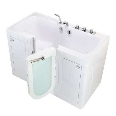 Tub4Two 60 in. Walk-In Soaking Bathtub in White Right Outward Door Heated Seat Thermostatic Faucet 2 in. Dual Drain