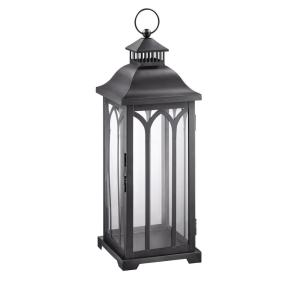 30 in. Metal Lantern in Black