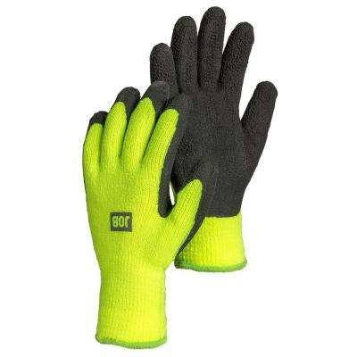 Asper Size 10 Large Heavy Duty Cold Weather Latex-Dipped Work Gloves in Neon Safety Yellow